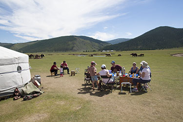 Guest yurt by a nomadic family at Mongolia Travel & Tours